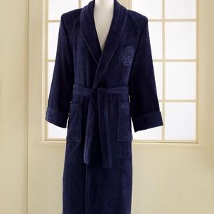 Халат мужской Soft Cotton DELUXE хлопковая махра фиолетовый S