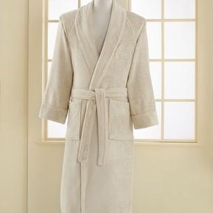 Халат мужской Soft Cotton DELUXE хлопковая махра светло-бежевый S