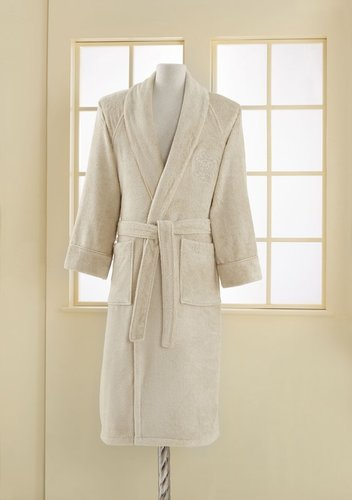 Халат мужской Soft Cotton DELUXE хлопковая махра светло-бежевый XL, фото, фотография