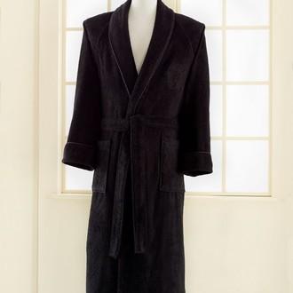 Халат мужской Soft Cotton DELUXE хлопковая махра чёрный
