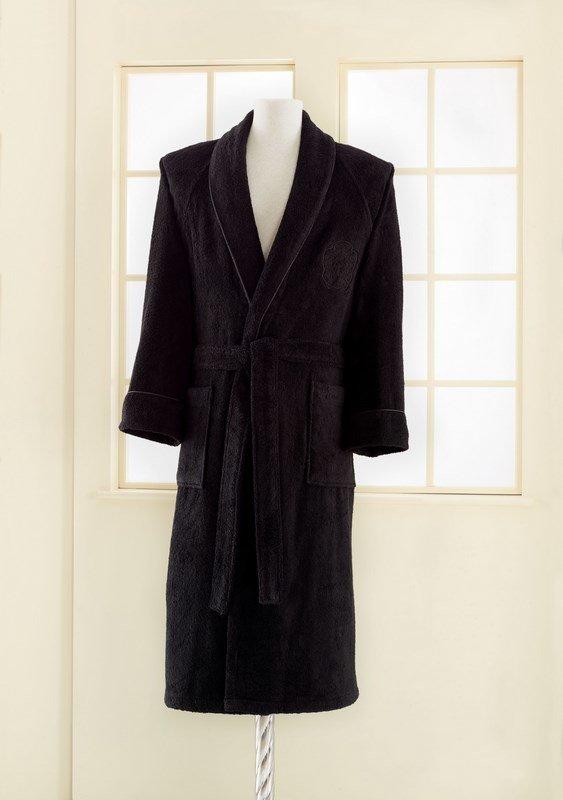 Халат мужской Soft Cotton DELUXE хлопковая махра чёрный L, фото, фотография