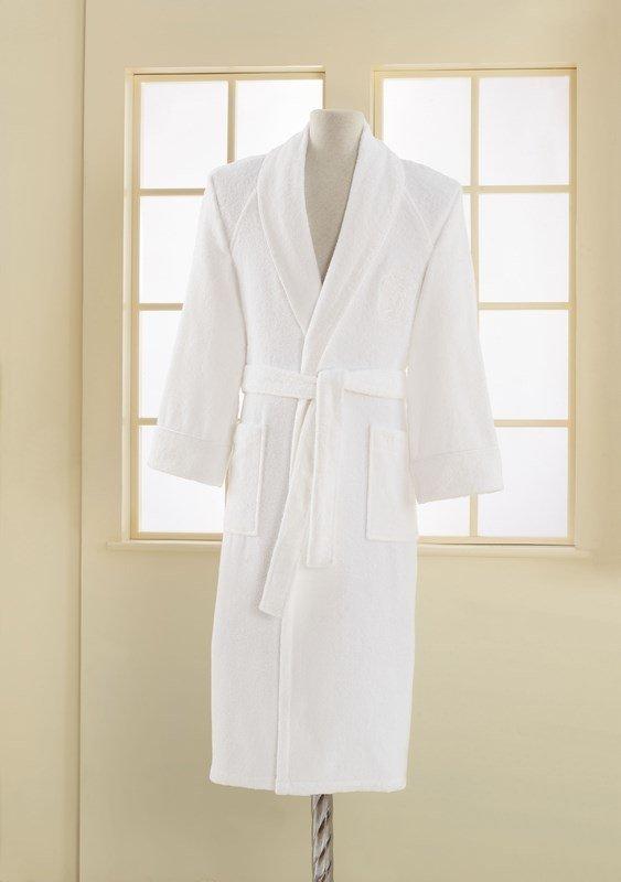 Халат мужской Soft Cotton DELUXE хлопковая махра белый XL, фото, фотография