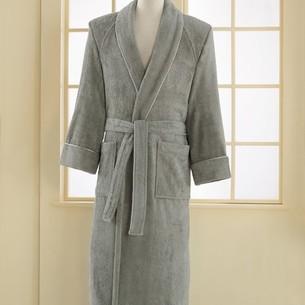 Халат мужской Soft Cotton DELUXE хлопковая махра серый S