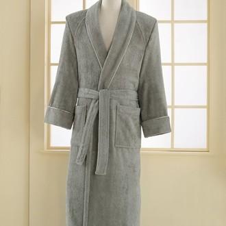 Халат мужской Soft Cotton DELUXE хлопковая махра серый