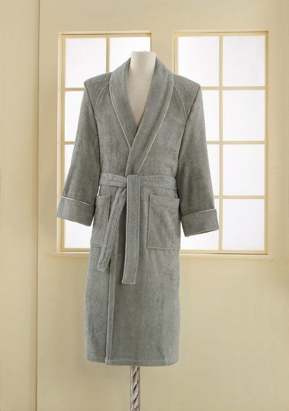 Халат мужской Soft Cotton DELUXE хлопковая махра серый M, фото, фотография