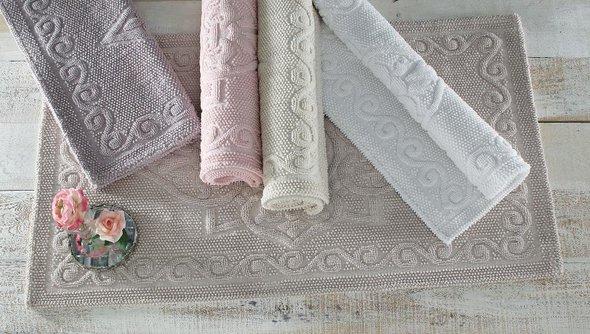 Набор ковриков 2 пр. Gelin Home SONIL хлопковая махра (пудра) 45*60, 60*100, фото, фотография