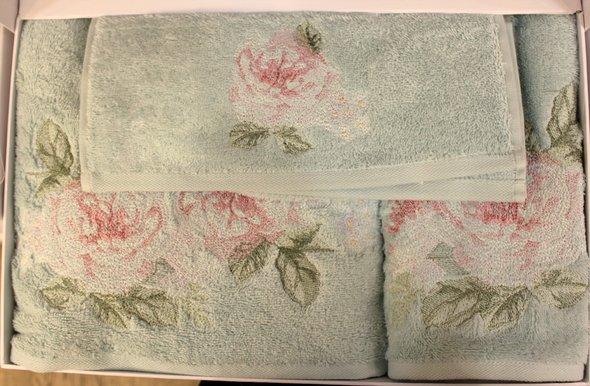 Подарочный набор полотенец для ванной 3 пр. Tivolyo Home ROSE NAKISLI хлопковая махра (бирюзовый), фото, фотография