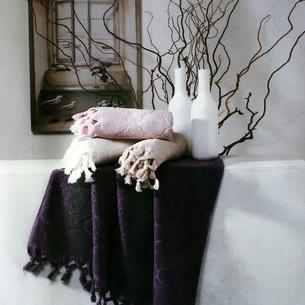 Подарочный набор полотенец для ванной 2 пр. Tivolyo Home NERVURES хлопковая махра фиолетовый