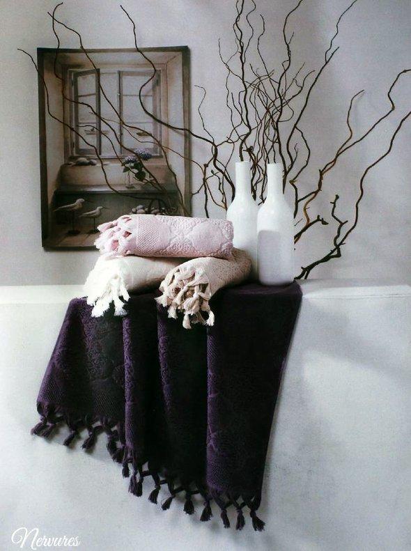 Подарочный набор полотенец для ванной 2 пр. Tivolyo Home NERVURES хлопковая махра (фиолетовый), фото, фотография