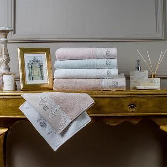 Подарочный набор полотенец для ванной 3 пр. Tivolyo Home JULIET хлопковая махра (кремовый)