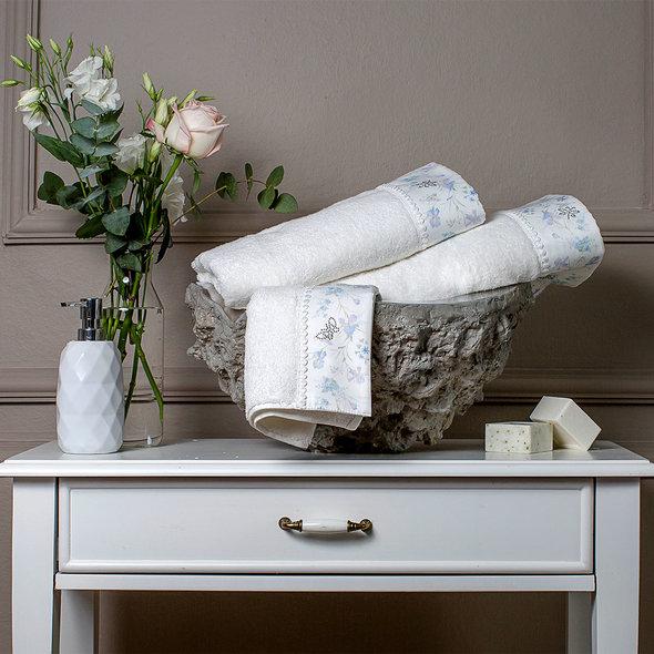 Подарочный набор полотенец для ванной 3 пр. Tivolyo Home IRIS хлопковая махра (кремовый), фото, фотография