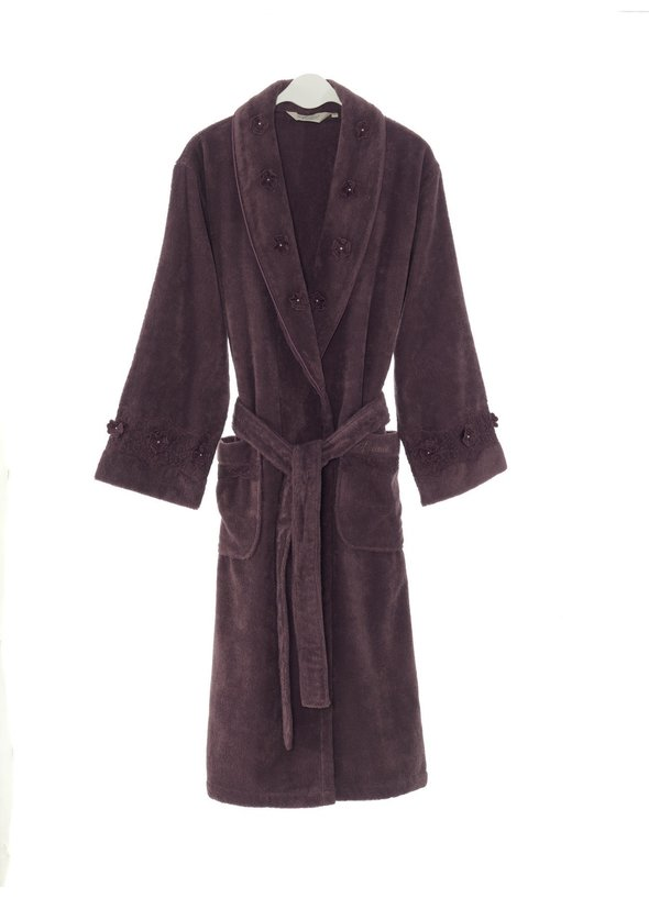 Халат мужской Soft Cotton YONCA хлопковая махра (фиолетовый) S, фото, фотография