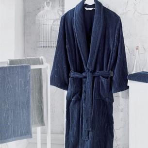 Халат мужской Soft Cotton SORTIE хлопковая махра тёмно-синий S