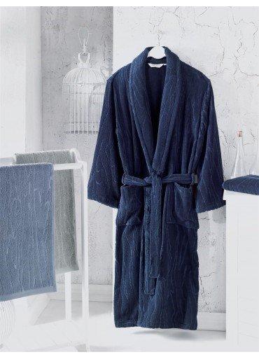 Халат мужской Soft Cotton SORTIE хлопковая махра (тёмно-синий) M, фото, фотография