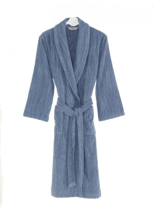 Халат мужской Soft Cotton SORTIE хлопковая махра (голубой) M, фото, фотография