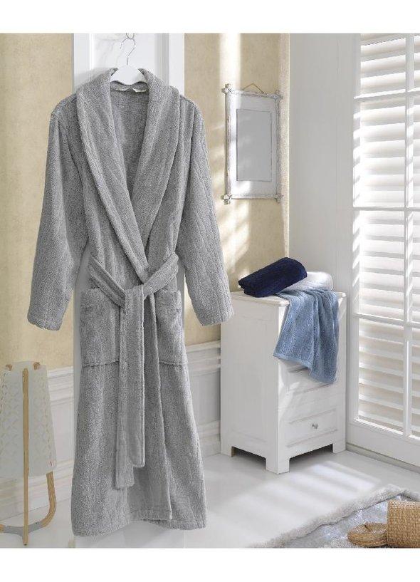 Халат мужской Soft Cotton SORTIE хлопковая махра (серый) M, фото, фотография