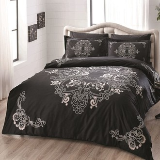 Комплект постельного белья TAC DELUX LUMINA хлопковый сатин deluxe (чёрный)