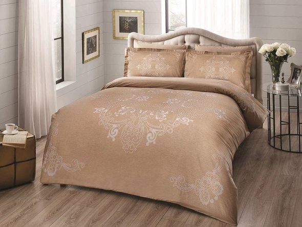 Комплект постельного белья TAC DELUX LUMINA хлопковый сатин deluxe (золотистый) евро, фото, фотография