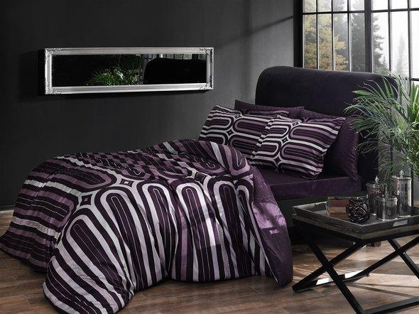 Комплект постельного белья TAC DELUX CLOUD хлопковый сатин deluxe (фиолетовый) евро, фото, фотография