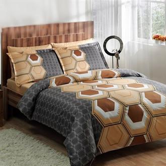Комплект постельного белья TAC DELUX ASPEN хлопковый сатин deluxe (коричневый)