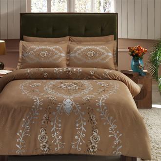 Комплект постельного белья TAC DELUX LOUVRE хлопковый сатин deluxe (коричневый)