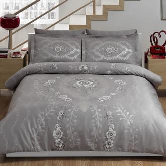 Комплект постельного белья TAC DELUX LOUVRE хлопковый сатин deluxe (серый)