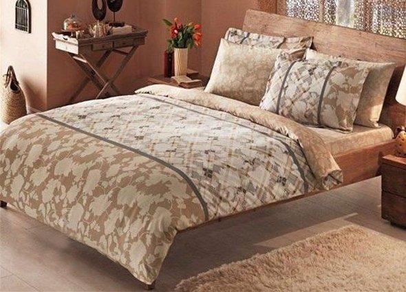 Постельное белье TAC DELUX MAJA хлопковый сатин deluxe (кофейный) 1,5 спальный, фото, фотография