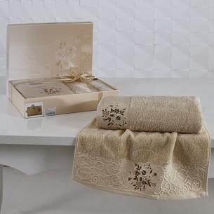 Подарочный набор полотенец для ванной 50х90, 70х140 Karna VIOLA хлопковая махра капучино
