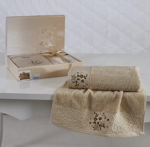 Подарочный набор полотенец для ванной 50х90, 70х140 Karna VIOLA хлопковая махра капучино, фото, фотография