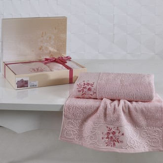 Подарочный набор полотенец для ванной 50*90, 70*140 Karna VIOLA хлопковая махра (светло-розовый)