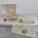 Подарочный набор полотенец для ванной 50х90, 70х140 Karna VIOLA хлопковая махра кремовый, фото, фотография