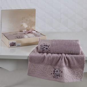 Подарочный набор полотенец для ванной 50х90, 70х140 Karna VIOLA хлопковая махра светло-сиреневый