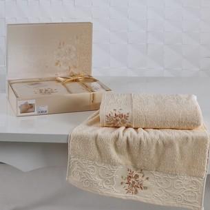 Подарочный набор полотенец для ванной 50х90, 70х140 Karna VIOLA хлопковая махра абрикосовый