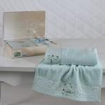 Подарочный набор полотенец для ванной 50х90, 70х140 Karna VIOLA хлопковая махра светло-зелёный, фото, фотография