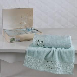 Подарочный набор полотенец для ванной 50х90, 70х140 Karna VIOLA хлопковая махра светло-зелёный