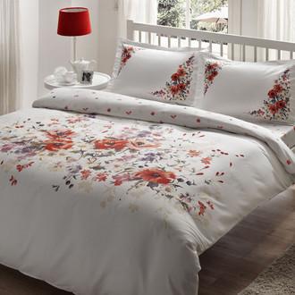 Комплект постельного белья TAC DELUX CAMILLA хлопковый сатин deluxe (белый+красный)