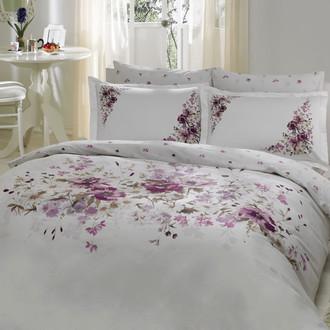 Комплект постельного белья TAC DELUX CAMILLA хлопковый сатин deluxe (белый+лиловый)