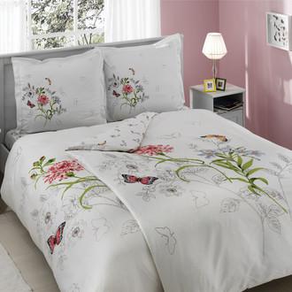 Комплект постельного белья TAC DELUX NICOLE хлопковый сатин deluxe (белый+розовый)