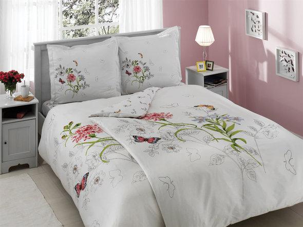 Комплект постельного белья TAC DELUX NICOLE хлопковый сатин deluxe (белый+розовый) семейный, фото, фотография