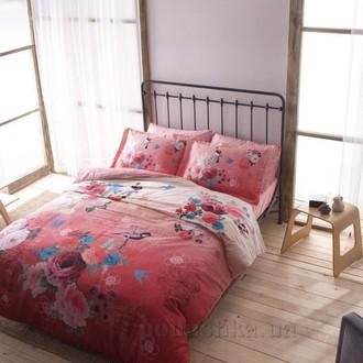 Комплект постельного белья TAC DIGITAL BOTANIC хлопковый сатин (розовый)