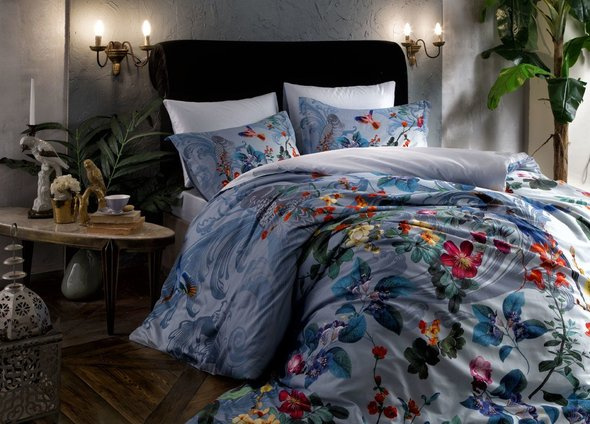 Комплект постельного белья TAC DIGITAL JUNE хлопковый сатин (голубой) 1,5 спальный, фото, фотография