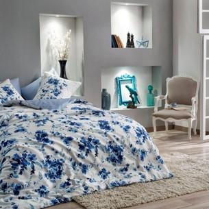 Постельное белье TAC DIGITAL FARIDA хлопковый сатин голубой семейный