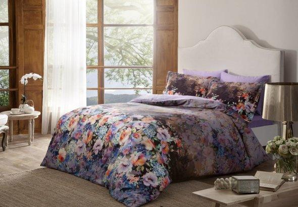 Комплект постельного белья TAC DIGITAL REFLECTIONS хлопковый сатин (фиолетовый) семейный, фото, фотография