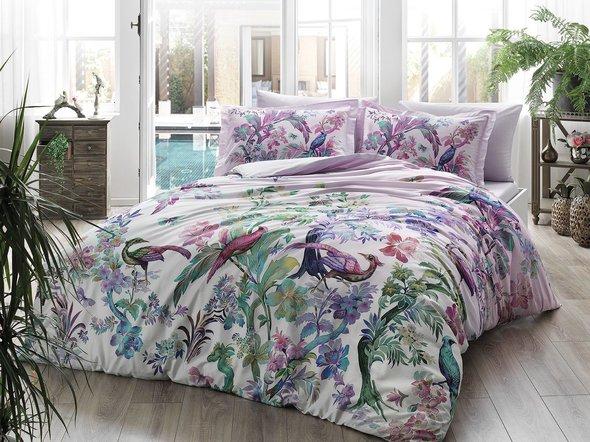 Комплект постельного белья TAC DIGITAL GALENA хлопковый сатин (лиловый) евро, фото, фотография