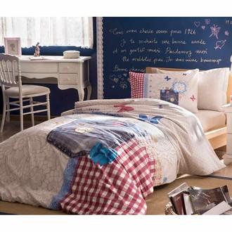 Комплект подросткового постельного белья TAC MOSCHINO хлопковый ранфорс (голубой)