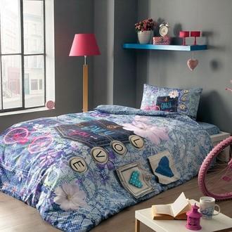 Комплект подросткового постельного белья TAC HELLO хлопковый ранфорс (голубой)