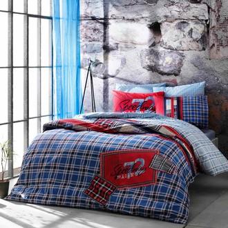 Комплект подросткового постельного белья TAC SPEEDWAY хлопковый ранфорс (голубой)
