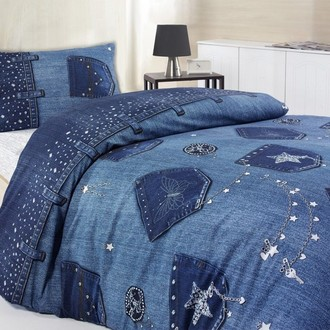Комплект подросткового постельного белья TAC JEANS хлопковый ранфорс (синий)