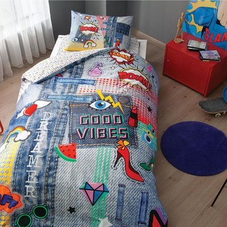 Комплект подросткового постельного белья TAC GOOD VIBES хлопковый ранфорс (голубой)