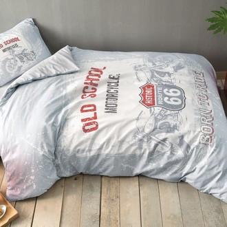 Комплект подросткового постельного белья TAC ROUTE хлопковый ранфорс серый